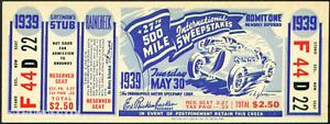 1 1939 INDIANAPOLIS INDY 500 AUTO RACING UNUSED FULL TICKET  laminated reprint