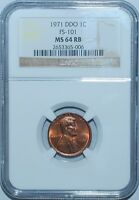 1971 NGC MS64RB Red and Brn Doubled Double Die Obverse FS-101 Lincoln Cent Penny