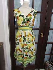 Dorothy Perkins yellow & green lemons sun dress, contrast stripe detail, size 18