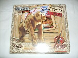 New Wild Life  3D Wooden Puzzle Gorilla  Inc Free Paint Set Inside