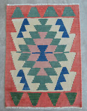 2x3 ft Rug OUSHAK RUG Hand Woven Vintage Turkish Kilim Rug Flat Weave Area Rug
