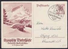 DR P 258 Ganzsache mit SST Leipzig Tag der Briefmarke 1937, GA Olympiade