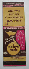 Vintage 1950s Lubbock Supper Club Modern Music Food Texas Matchbook Cover