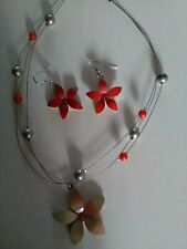 Earrings Set. Costume jewellery New Ladies Red/Beige Flower Necklace and