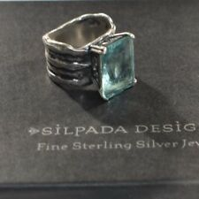SILPADA Sterling Silver Aqua Blue Glass Statement Ring Size 7 R1608