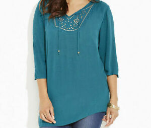 Catherines Plus Size Ibiza Peasant Tunic Top Blouse Size 0X Green/Teal
