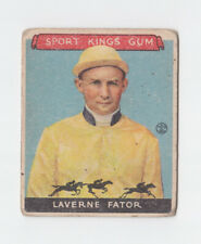 1933 Sport Kings #13 Laverne Fator Jockey Card Low Grade