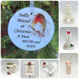 Mum & Dad Christmas Memorial Tributes Xmas Tree Robin Bauble Candle Book Plaque