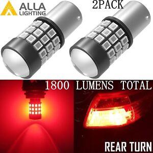 Alla Lighting 1156 BA15S Red 39-LED Rear Turn Signal Light Bulbs Blinker Lamps
