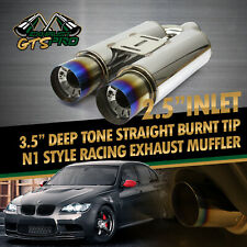 "FIT EURO CAR 1X NA 2.5"" DEEP TONE STRAIGHT CHROME EXHAUST MUFFLER BLUE BURNT TIP"