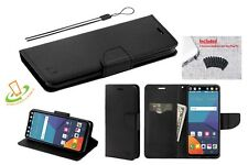 Black Strap Leather Wallet Protective Case Cover For LG Aristo K4 Rebel 2 + Plug