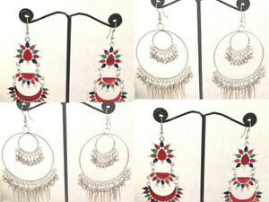 2 Pairs Indian Combo Oxidized Silver Gold Earrings Jewelry Bollywood Jhumka Hoop
