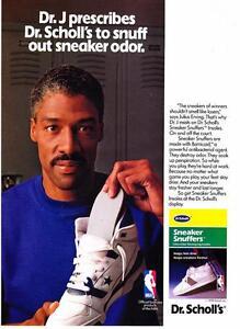 "1990 Julius Erving (Dr. J) photo Dr. Scholl's ""Sneaker Snuffer's"" promo print ad"