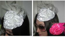 HANDMADE HOT PINK FEATHER FABRIC ROSETTE MINI HAT CHURCH GOTHIC LOLITA BRIDAL