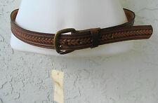 "Women`s Brown Leather Top Grain Belt Gold Tone Buckle Weave Pattern Size 32"" New"