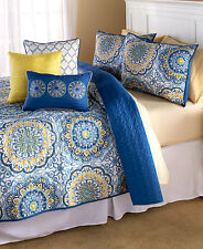 6-Pc King Quilt Set Shams 3 Decorative Pillows Blue/Yellow Bedroom Bed Decor