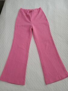 Vintage 70's Alan Green Pink Textured Bell Bottom Ladies Pants size  12