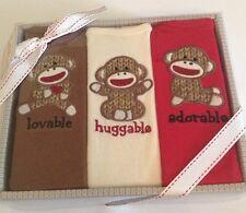 Baby Starters Boys Sock Monkey 3 Bodysuits Set Size 0-6 Months Layette Gift