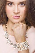 Bracelet Women Bangle Jewelry Leather Cuff Faux Snakeskin Crystal Flowers Gift