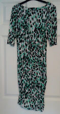 River Island Black Green Leopard Animal Print Short Sleeve Tunic Dress UK Sz 10