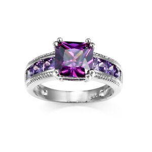 Xmas Gift Multi-Stone Natural Purple Amethyst Gems Silver Ring Size 6 7 8 9 10