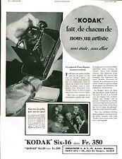 Publicité ancienne appareil photo Kodak Six-16  1933
