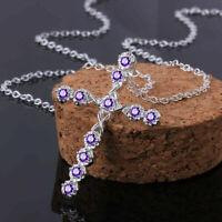 Jewelry Cross Women Silver Pendant Sapphire Creative Fashion 925 White Necklace