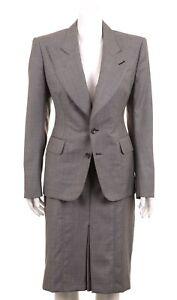 TOM FORD Womens Gray Woven 100% Wool Peak Lapel 2pc Skirt Suit 42 / 44