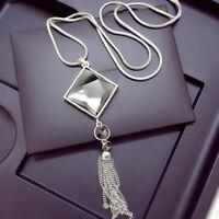Boho Women Pendant Necklace Square Big Crystal Long Sweater Tassel Chain Jewelry