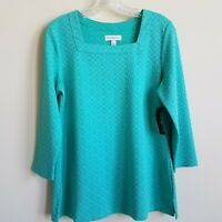 NEW Kim Rogers Top Shirt Textured Square Neck Green Turquoise Women's Size Small