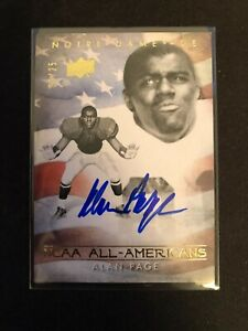 2011 UD COLLEGE FOOTBALL LEGENDS ALAN PAGE /25 AUTO NOTRE DAME VIKINGS BEARS