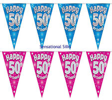 Happy 50th Birthday Pink Holographic Foil Party Bunting 3.9m Long 11 Flags by