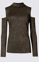 New M&S Gold Bronze Sparkly Cold Shoulder Long Sleeve Evening Xmas Party Top