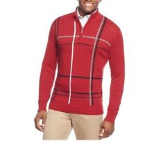 Geoffrey Beene Sweater Sz S Wine Red Multi Plaid Half-Zip Pullover Casual