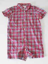 Ralph Lauren Baby Boys Plaid Shortall Red Multi Sz 24M - NWT