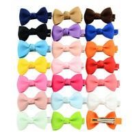 Pack of 20 Baby Girls Hair Pins Non-scratch Grosgrain Ribbon Bows Clips Headwear