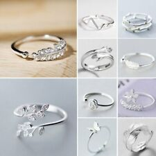 925 Silver Love Heart Feather Knuckle Ring Open Zircon Ring Women Adjustable Hot