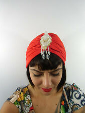 Bonnet turban rouge red bijoux perles au front oriental rétro pinup original