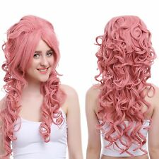 Women Long Hot Pink Curly Wave Vampiress Countess Synthetic Cosplay Wig ZY65E