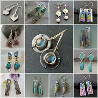 Unique Women Turquoise Multi-Color Gemstone 925 Silver Earrings Ear Hook Jewelry