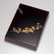 Japanese URUSHI lacquered letter box, wooden, Japanese rose YAMABUKI, A4