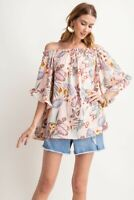 Easel Tropical Floral Print Off Shoulder Ruffle Sleeve Top