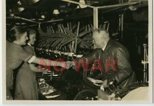 WWII GERMAN WAR PHOTO POLITICAL LEADER DR. ROBERT LAY MEETING W FACTORY LABORS