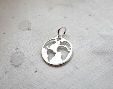 WORLD MAP EARTH GLOBE TRAVEL HOLIDAY CHARM 925 STERLING SILVER