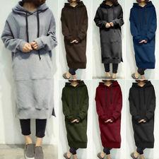 UK Women Hooded Winter Sweatshirt Long Sleeve Maxi Hoodie Dress Jumper Sweater