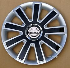 """Black/Silver 15"""" wheel trims, Hub Caps, Covers to fit Nissan Micra,Note,Almera"""