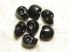 15pc - Perles Crâne Tête de Mort Turquoise Synthèse reconstituée 8mm Noir - 8741