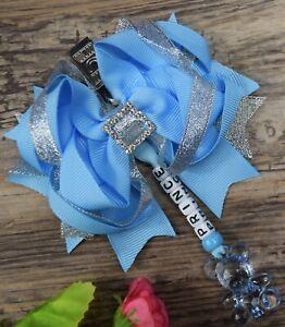 Personalised stunning pram charm in baby blue baby girls boys bear