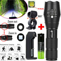 Ultrafire Flashlight 60000LM T6 LED Light Tactical 18650&Torch Holder Bicycle .