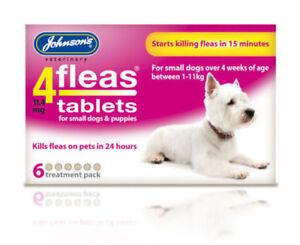 JOHNSONS 4 FLEAS TABLETS for SML DOG / 1-11KG   6 TREATMENT PACK   FLEA KILLER